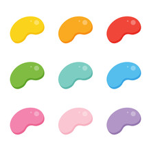 Set, Collection Of Cute Colorful Jelly Beans Candies Isolated On White Background.