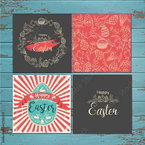 Fototapeta Set of greeting Easter cards on wooden background. Vector hand-drawn easter symbols obraz na płótnie