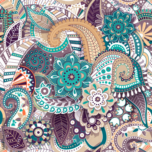Foto auf AluDibond Boho-Stil Colorful Paisley seamless pattern. Original decorative backdrop. Indian wallpaper