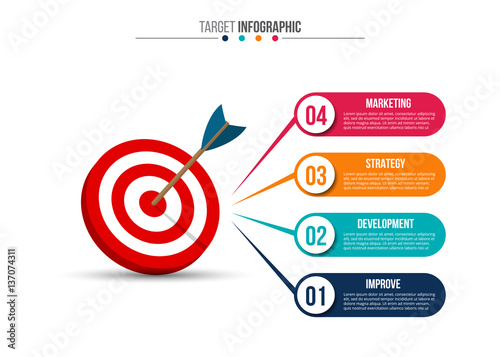 Fotografía  Infographic template with target and dart.