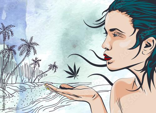 piekno-kobieta-na-ocean-drzewek-palmowych-plazy-reka-rysujaca-tlo-akwarela-grafika-wektorowa