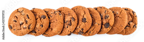 Biscuit stack of сhocolate chip cookies isolated on white background