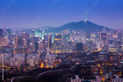 Seoul City Skyline and N Seoul Tower in Seoul, south Korea. Poster