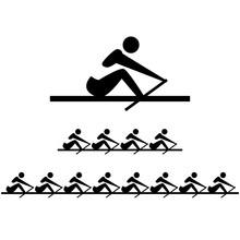 Icon Of Rowing Men. Vector Set