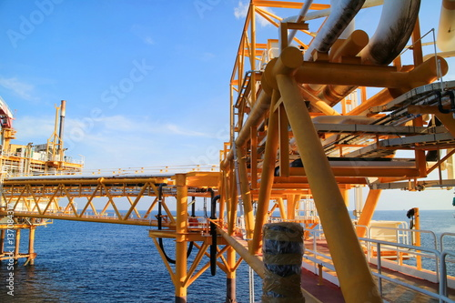 Gangway or walk way in oil and gas construction platform
