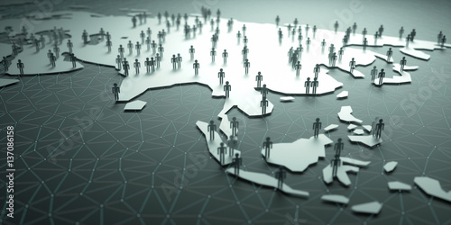 Asia Population. 3D illustration of people on the map, representing the country's demography.