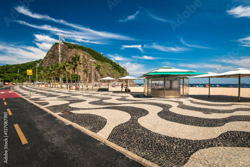Famous Portuguese Style Mosaic, Bicycle Path and Empty Kiosk in Leme and Copacabana Beach in Rio de Janeiro, Brazil
