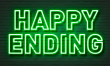 Happy Ending Neon Sign On Bric...