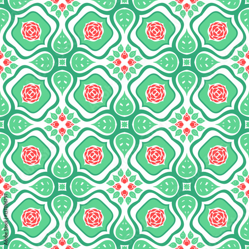 Fotografie, Obraz  Floral pattern with stylized red roses and leaves
