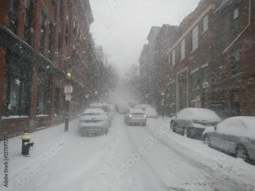 Photo Stands New York Boston Snow