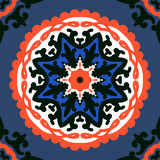 Suzani, vector pattern with bold ornament - 137097763