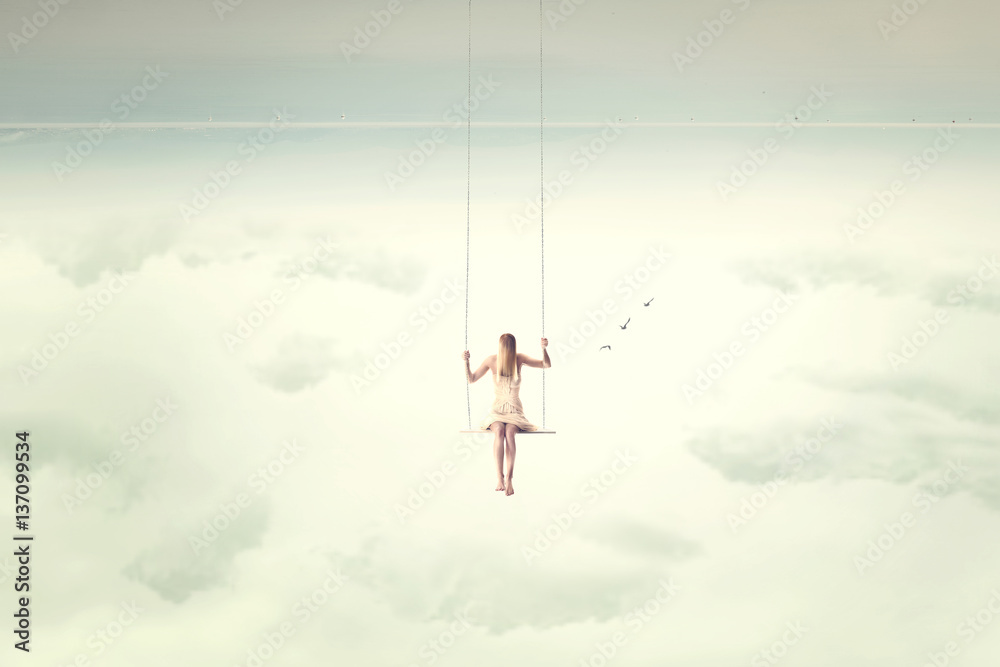 Fototapety, obrazy: upside down surrealistic minimal woman swings in the air