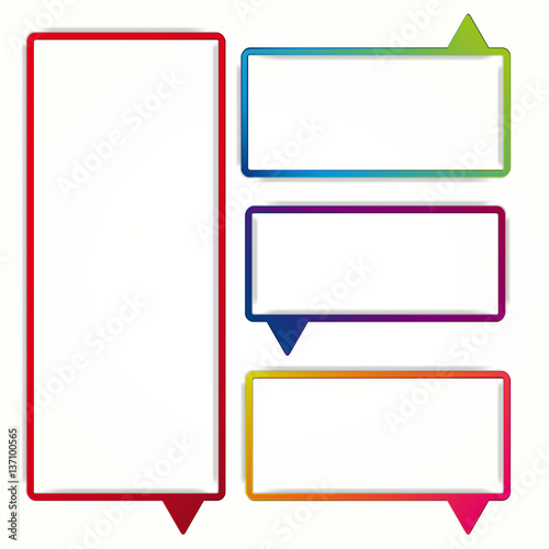 colorful speech bubble frames on a white background labels in the