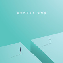 Business Gender Gap Inequality Vector Concept With Businessman And Businesswoman Standing Across Gap.
