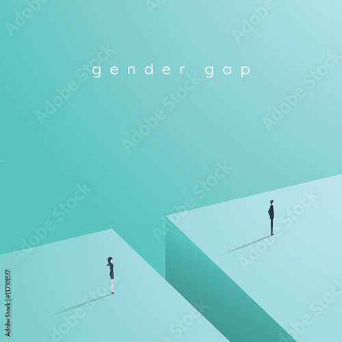 Business gender gap inequality vector concept with businessman and businesswoman standing across gap Canvas