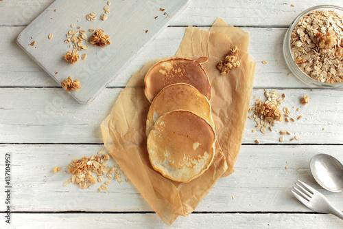 Pfannkuchen Pancakes Frühstück Top View Tisch Weiß
