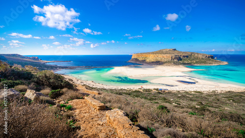City on the water Amazing panorama of Balos Lagoon with magical turquoise waters, lagoons, tropical beaches of pure white sand and Gramvousa island on Crete, Greece