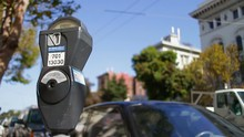 Shot Of A Parking Meter In The Streets Of San Francisco.