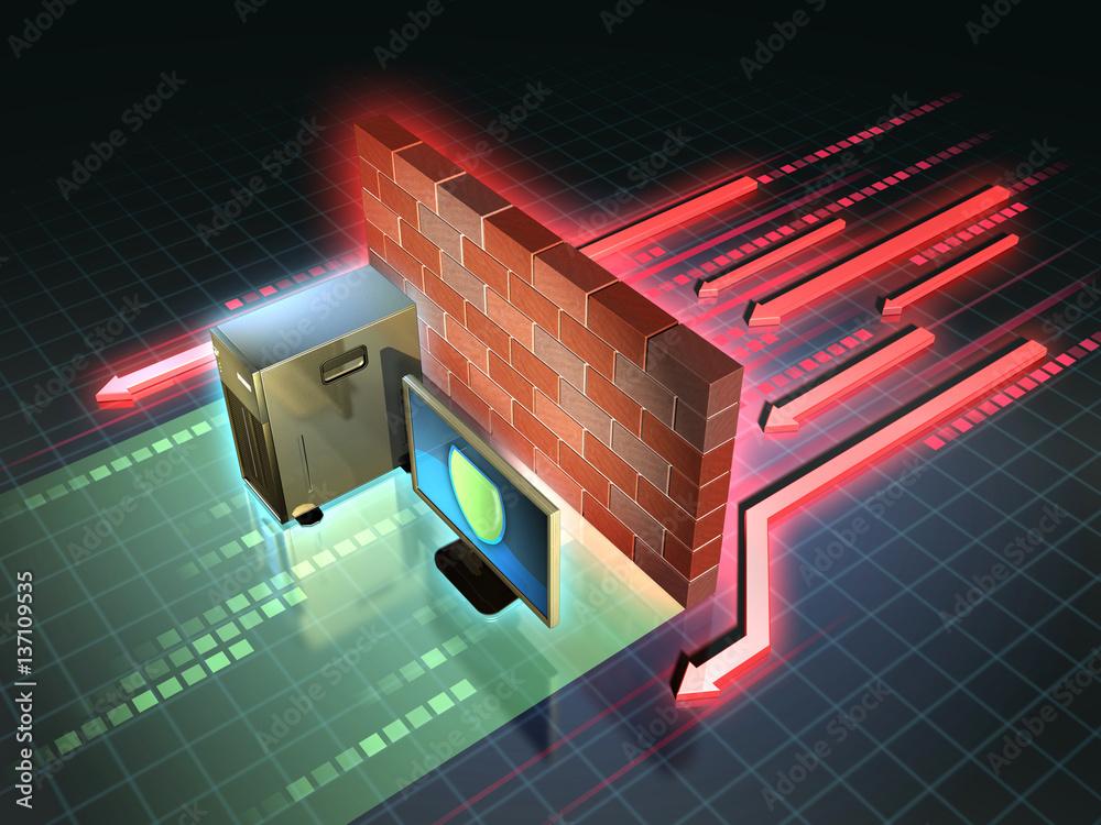 Fototapeta Firewall attack