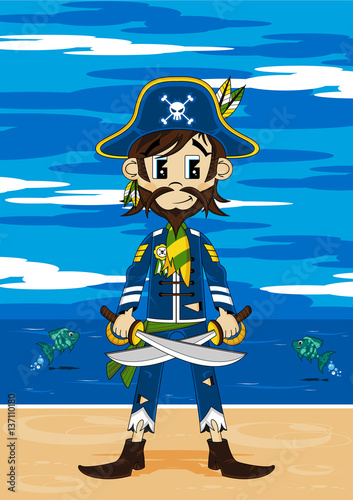 Foto op Canvas Piraten Cute Cartoon Pirate Captain on Beach