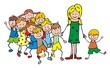 The teacher with the children on a walk. Vector illustration.