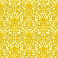 FototapetaArt deco vector floral pattern in gold and white.