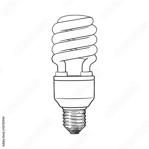 fluorescent  energy saving  spiral light bulb  side view  sketch style vector illustration