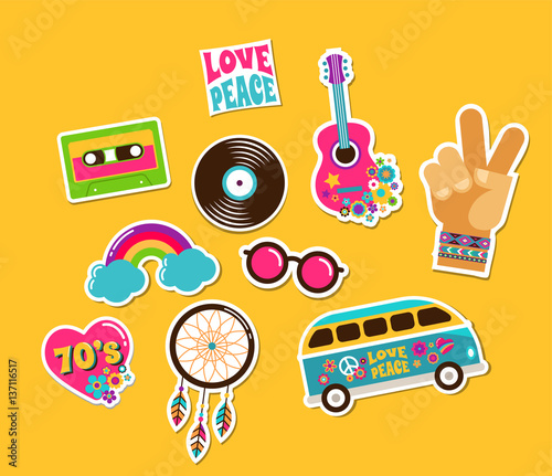 Fotomural  Hippie, bohemian stickers, pins, art fashion chic patches, pins, badges and icon