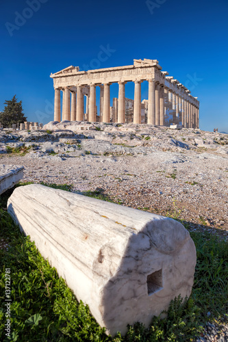 Parthenon temple with column on the Acropolis in Athens, Greece