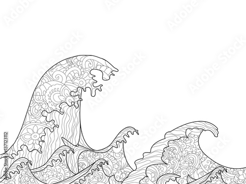 Fényképezés The Great Wave off Kanagawa coloring book for adults vector