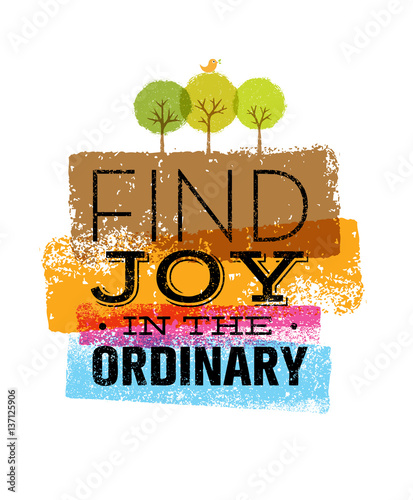 Find Joy In The Ordinary. Organic Motivation Quote. Creative Vector Typography Poster Concept.
