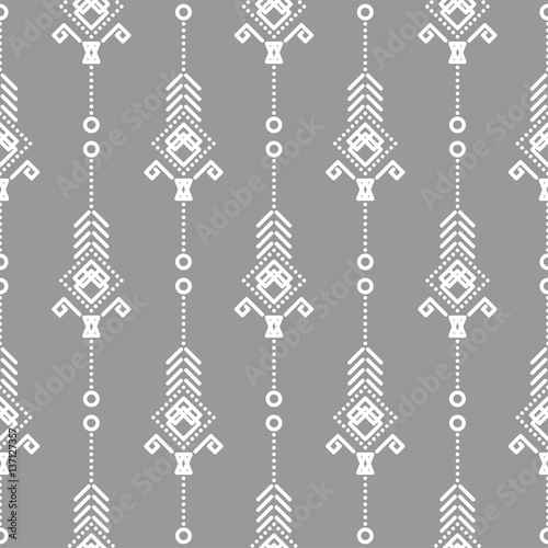Foto auf AluDibond Boho-Stil Bohemian seamless vector pattern. White on gray tileable navajo background.