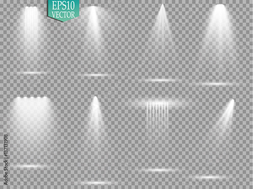 Photo Vector light sources, concert lighting, stage spotlights set