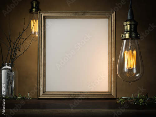 Photo  Two glowing vintage bulbs and blank golden frame. 3d rendering