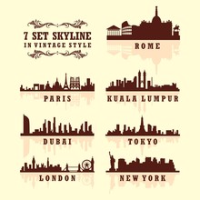 Set Of Big City Skyline Silhouette In The World In Vintage Style
