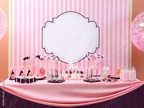 Photo  Table with tasty sweets prepared for party
