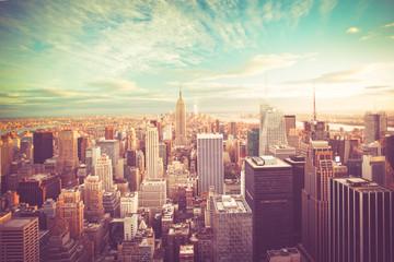 Vintage tone view of New York City skyline view across Manhattan