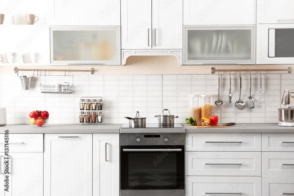 Fototapety, obrazy: New modern kitchen interior