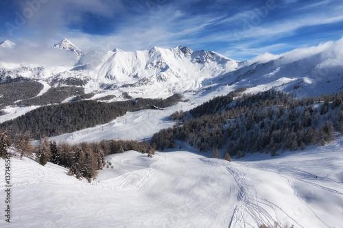 Fotografiet aerial mountain view of Pila ski resort in winter, Aosta, Italy