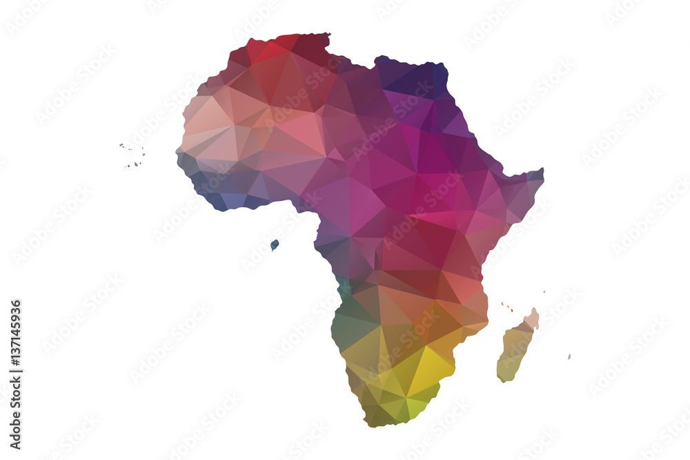 Fototapety, obrazy: low poly africa map