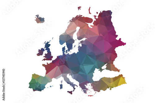 Photo low poly europe map
