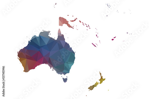 Fototapeta low poly oceania map