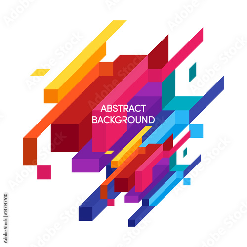 Abstract colorful geometric isometric background vector illustration Wall mural