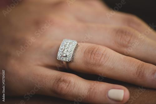 Which Hand Wedding Ring Female.Horizontal Close Up Shot Of Female Hand Wearing Wedding Ring Buy