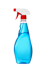 Window Cleaner In Plastic Bottle With Spray. Blue Color Window Cleaner With Red Cap And Sprayer