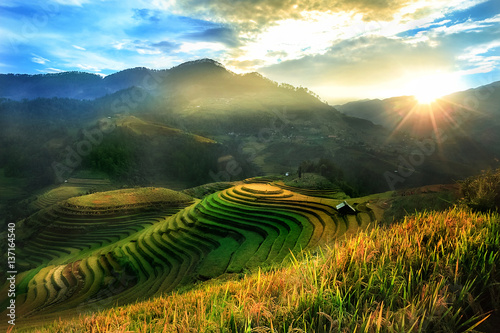 Fotobehang Rijstvelden Mucangchai terraced rice field