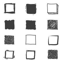 Set Of Cute Hand Drawn Squares...