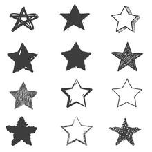 Set Of Cute Hand Drawn Star. D...