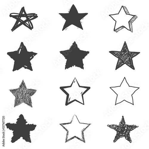 Set of cute hand drawn star. Doodle style sketching. Vector illustration. Fototapete