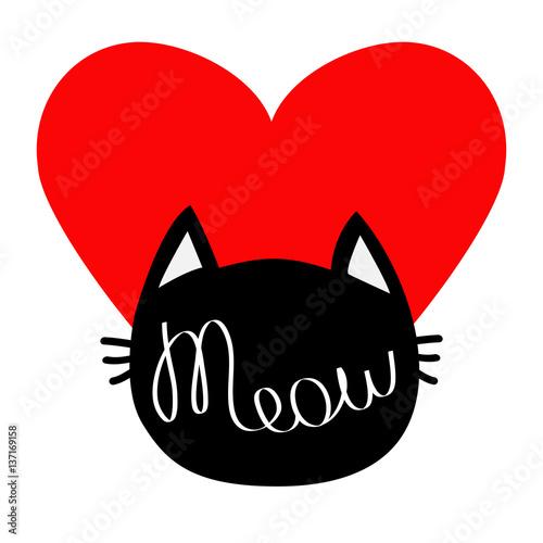 Black Cat Head Silhouette Shape Meow Lettering Text Cute Cartoon